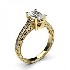 Yellow Gold Radiant Vintage Diamond Engagement Ring - CLRN2_19
