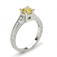 4 Prong Yellow Diamond Vintage Engagement Ring