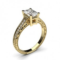 Emerald Yellow Gold Engagement Rings