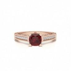 Cushion Rose Gold Gemstone Diamond Rings