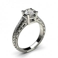 White Gold Round Vintage Diamond Engagement Ring - CLRN2_03