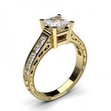Diamant Verlobungsring in einer Krappenfassung mit großen Schulter Diamanten - CLRN2_14