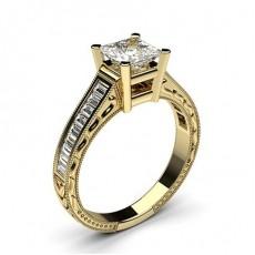 Diamant Verlobungsring in einer Krappenfassung mit großen Schulter Diamanten - CLRN2_13