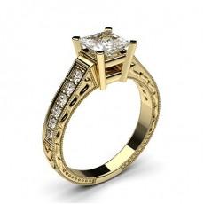Diamant Verlobungsring in einer Krappenfassung mit großen Schulter Diamanten - CLRN2_16
