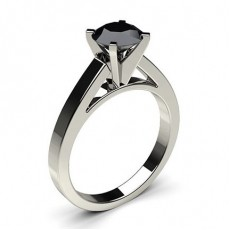 4 Prong Setting Medium Engagement Black Diamond Ring
