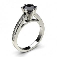 6 Prong Setting Medium Side Stone Engagement Black Diamond Ring - CLRN6_13