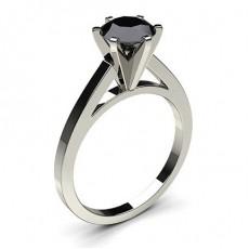 6 Prong Setting Thin Engagement Black Diamond Ring - CLRN6_12
