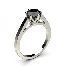 6 Prong Setting Thin Engagement Black Diamond Ring - CLRN7_11