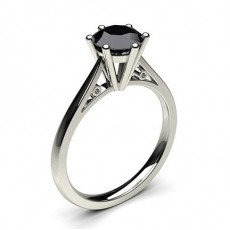 6 Prong Setting Thin Engagement Black Diamond Ring - CLRN10_04