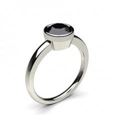 Full Bezel Setting Thin Engagement Black Diamond Ring - CLRN12_07