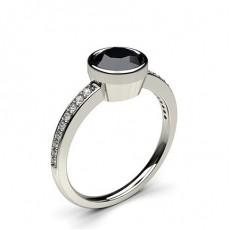 Full Bezel Setting Thin Side Stone Engagement Black Diamond Ring - CLRN12_08