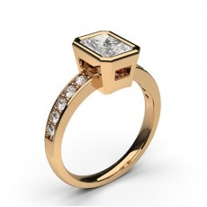 Radiant Rose Gold Side Stone Engagement Rings