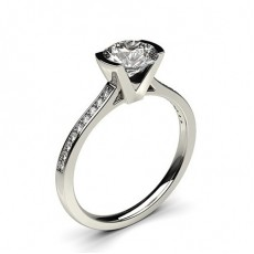 Semi Bezel Setting Thin Side Stone Engagement Ring - CLRN15_12