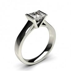 Bague de fiançailles large solitaire diamant serti demi-clos - CLRN16_01