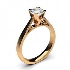 Cushion Rose Gold Classic Solitaire Engagement Rings