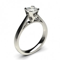 Cushion Platinum Solitaire Diamond Rings