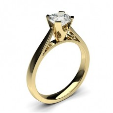 Cushion Yellow Gold Classic Solitaire Engagement Rings