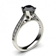 4 Prong Setting Medium Side Stone Engagement Black Diamond Ring