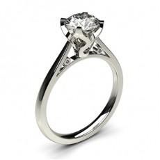 Bague de fiançailles fine solitaire diamant rond serti 4 griffes carrées - CLRN18_01