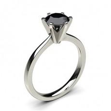 6 Prong Setting Thin Engagement Black Diamond Ring - CLRN19_06