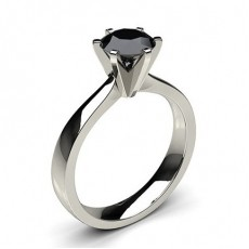 6 Prong Setting Large Engagement Black Diamond Ring - CLRN19_08