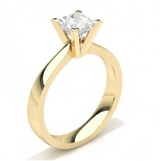 Princess Yellow Gold Classic Solitaire Engagement Rings