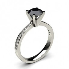 4 Prong Setting Medium Side Stone Engagement Black Diamond Ring (Available from 0.50ct. to 2.00ct.)