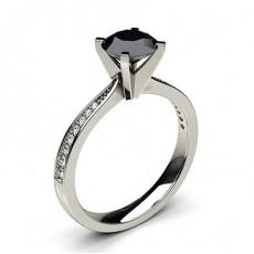 4 Prong Setting Medium Side Stone Engagement Black Diamond Ring - CLRN20_09