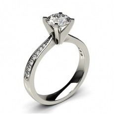 White Gold Round Side Stone Diamond Engagement Ring (Available from 0.20ct. to 3.00ct.)
