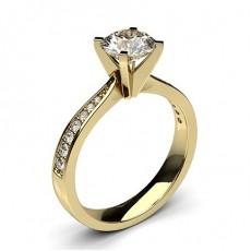 White Gold Round Side Stone Diamond Engagement Ring - CLRN20_04