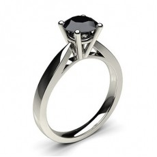 4 Prong Setting Medium Engagement Black Diamond Ring - CLRN23_06