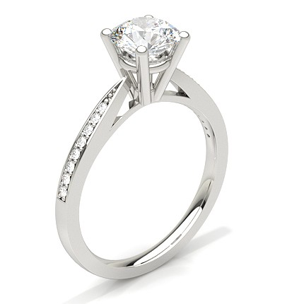 Buy White Gold Round Side Stone Diamond Engagement Ring line UK