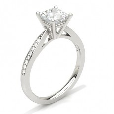 White Gold Round Side Stone Diamond Engagement Ring - CLRN23_04
