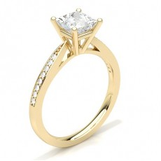 White Gold Round Side Stone Diamond Engagement Ring - CLRN23_04
