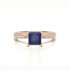 Princess Sapphire Diamond Engagement Rings
