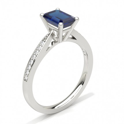Emerald Blue Sapphire Prong Setting Engagement Ring