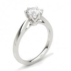 Bague de fiançailles fine solitaire diamant rond serti 6 griffes rondes - CLRN24_03