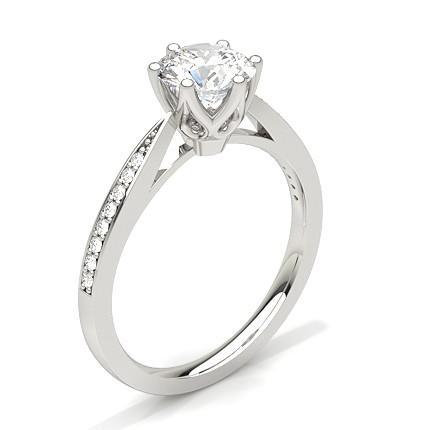 White Gold Side Stone Diamond Engagement Ring