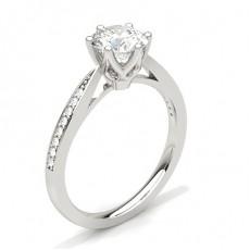 Bague de fiançailles fine solitaire épaulé diamant rond serti 6 griffes carrées et pavé - CLRN24_04