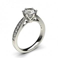 Bague de fiançailles standard solitaire épaulé diamant rond serti 6 griffes rondes et pavé - CLRN24_05