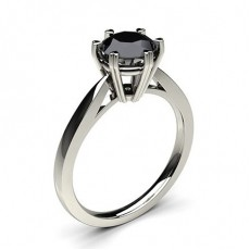 6 Prong Setting Thin Engagement Black Diamond Ring