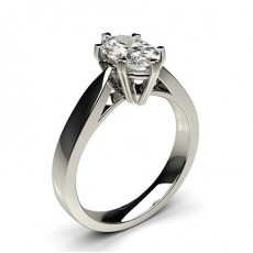 Oval Or Blanc Bague solitaire diamant