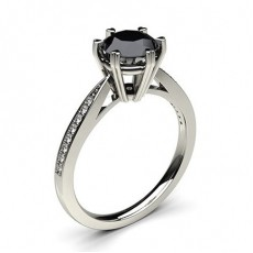 6 Prong Setting Thin Side Stone Engagement Black Diamond Ring - CLRN26_06