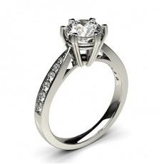 6 Prong Setting Medium Side Stone Engagement Ring - HG0593_P22