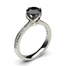 4 Prong Setting Medium Side Stone Engagement Black Diamond Ring in 18K White Gold - HG0546_48
