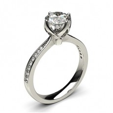 4 Prong Setting Medium Side Stone Engagement Ring - CLRN27_05