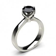 4 Prong Setting Large Engagement Black Diamond Ring (Available from 0.50ct. to 2.00ct.)