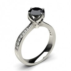 4 Prong Setting Large Side Stone Engagement Black Diamond Ring - CLRN27_10