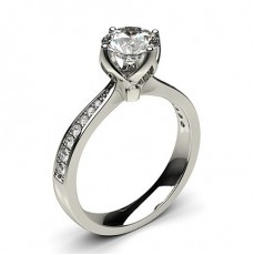 4 Prong Setting Large Side Stone Engagement Ring (Available from 0.20ct. to 2.00ct.)