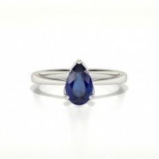 Blauer Saphir Verlobungsring In Einer Birnen 3 Krappen Fassung